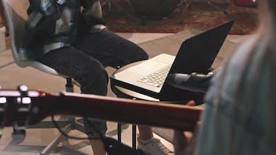 Female Musicians Recording Music In Studio