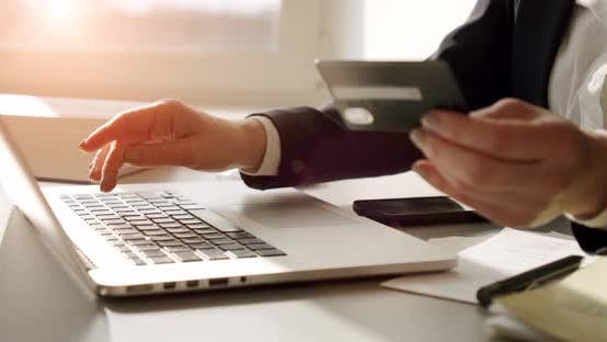 Businesswoman Doing Blurred Online Banking Credit Card Making Payment Investment Internet Entering