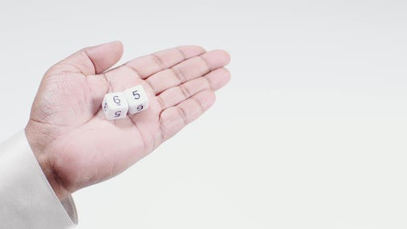 Holds White Dice Six And Five Sixty Five 65