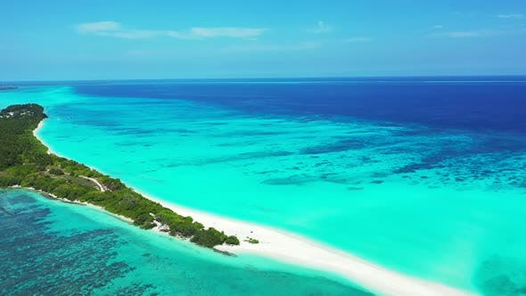 Thumbnail for Wide flying abstract view of a sandy white paradise beach and blue ocean background in colourful 4K