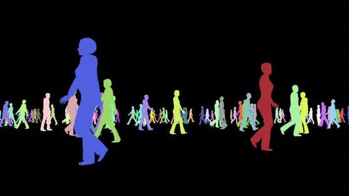 People Multicolor Silhouettes Walking