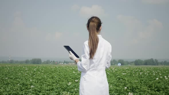Thumbnail for Female agronomist with digital tablet outdoors