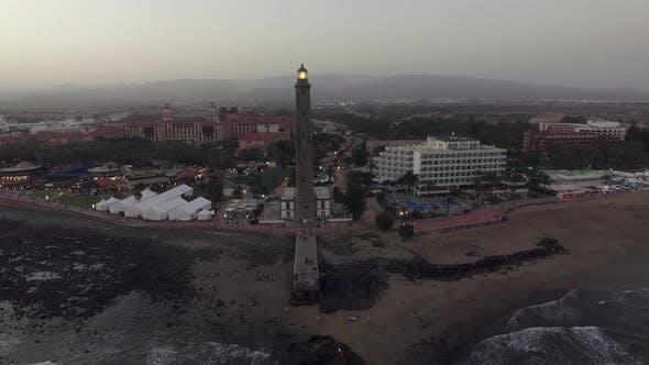 Maspalomas Lighthouse and Resort on the Coast, Aerial
