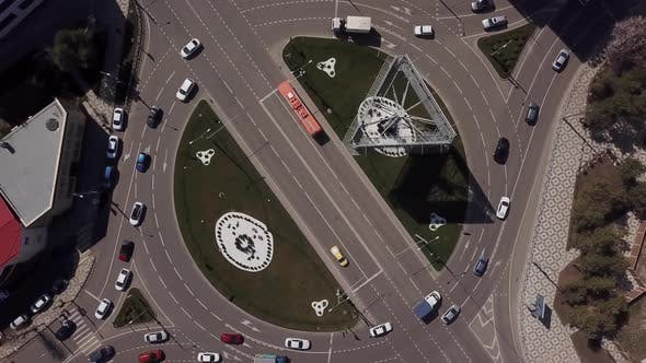 Thumbnail for Top View Zoom Out Urban Road with Traffic Cars, Top Down View of Roundabout