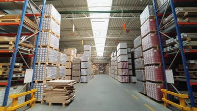 Factory for the production of parquet board. Modern industrial factory