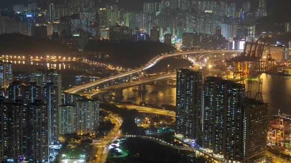 Thumbnail for Hong Kong Night Urban Panorama Time Lapse China Zoom Out