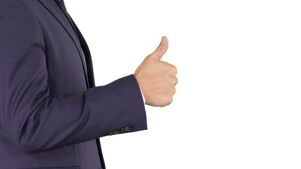 Thumbnail for Businessman showing thumbs up on white background.