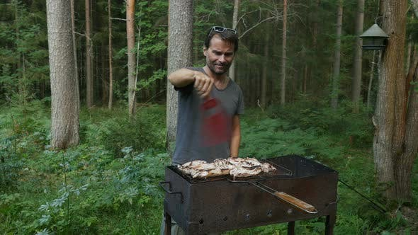 Thumbnail for Cooking Summer Bbq Grill Steak. Man Preparing Meat On Grill