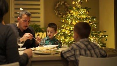 Family Christmas Dinner at Home