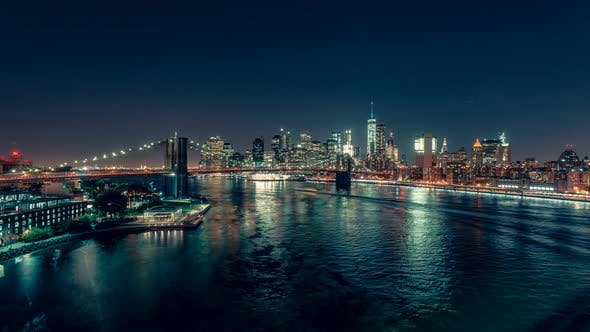 Thumbnail for New York City , USA - Lower Manhattan at Night