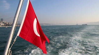Turkish Flag Waving