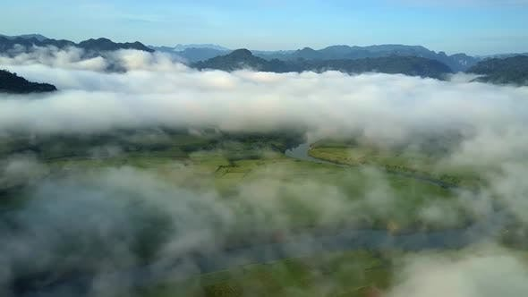 Thumbnail for Aerial View Clouds Higher Hills Green Landscape Downwards