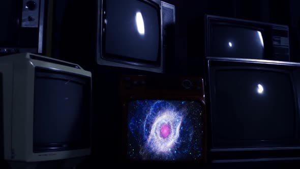 Thumbnail for The Helix Nebula on a Retro TV. Zoom In.