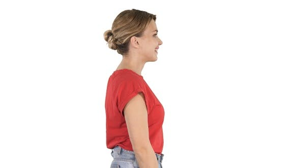 Thumbnail for Walking Woman in In Jeans and T-Shirt on White Background