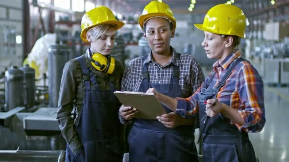 Thumbnail for Multi-Ethnic Team of Female Supervisors Working at Factory