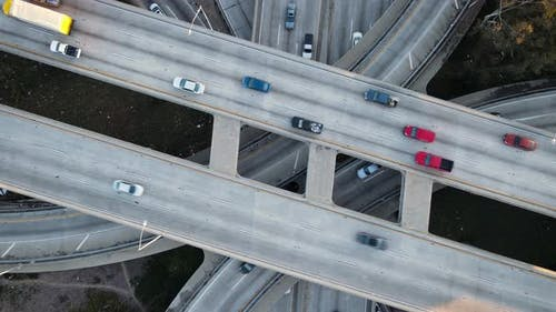 Aerial shot of a 4 level freeway interchange in Los Angeles
