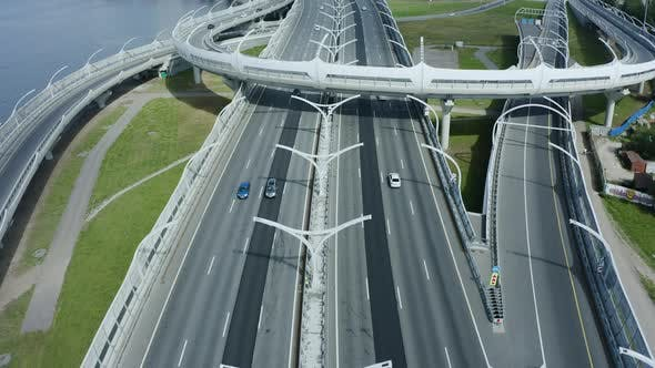 High Speed Track New Modern Futuristic Highway in Saint Petersburg Spbd Roadway. Bridge Above River