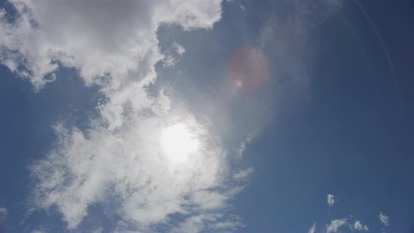 Cover Image for The Beautiful Sky with Clouds Moving with the Wind and Sun Flare