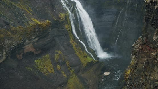 Most Beautiful Haifoss Waterfall in Iceland Highland