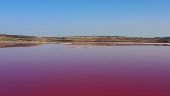 Aerial View of Pink Chokrak Lake in Crimea