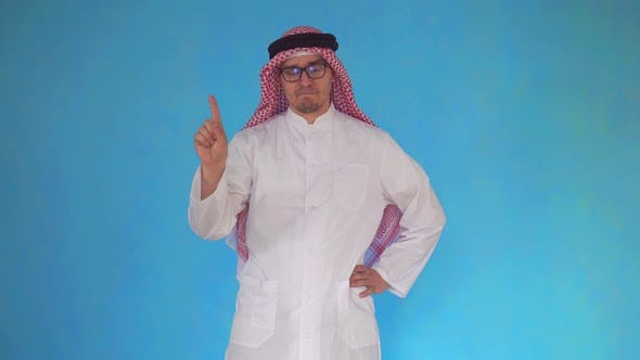 Arab Man Expresses Disapproval on Blue Background