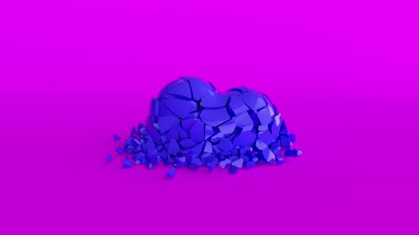 The Cold Blue Heart Shatters Into Smithereens on the Purple Surface