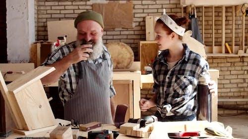 Teatime in Carpentry Workshop