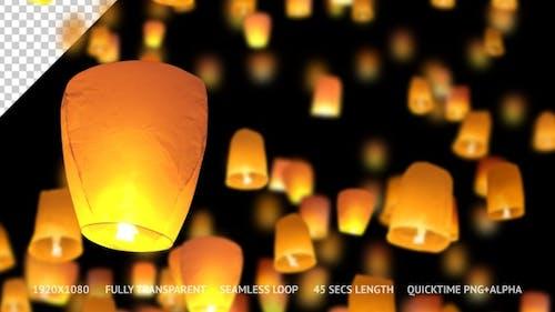 Sky Lanterns Moving Upward