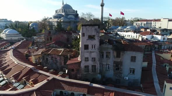 Thumbnail for Grand Bazaar Roofs And Ruined Building Istanbul Aerial View