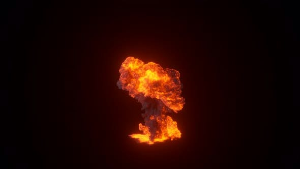 Thumbnail for Ultra Realistic Fiery Explosion From a Bomb or Gas with Black Thick Smoke on an Isolated Black