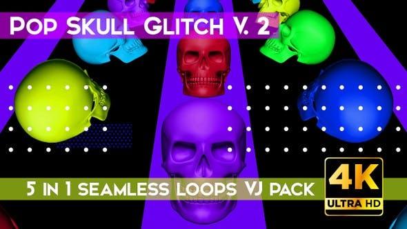 Thumbnail for Skull Pop Glitch V.2 VJ Loops