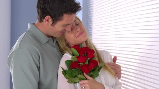 Thumbnail for Sweet husband surprises his wife with flowers