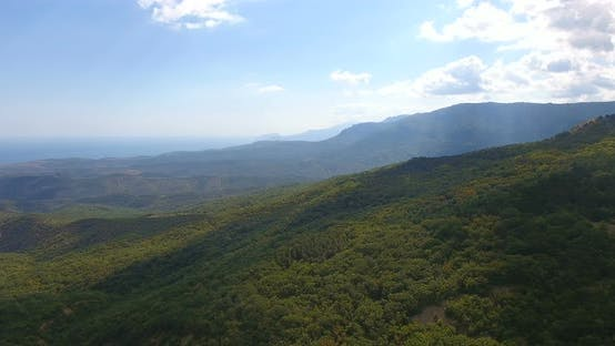 Aerial View on Crimea Landscape with Cliffs and Mountains. Popular Tourist Attractions in Crimea