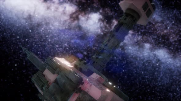 Space Ship and Milky Way Stars