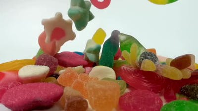 Slow Motion of Falling Jelly Sweets
