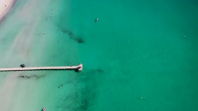 Aerial drone footage of the beach front on the Spanish island Majorca Mallorca, Spain