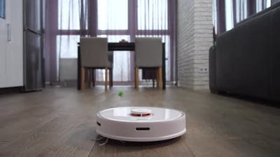 Automatic Robot Cleaning Floor in Apartment