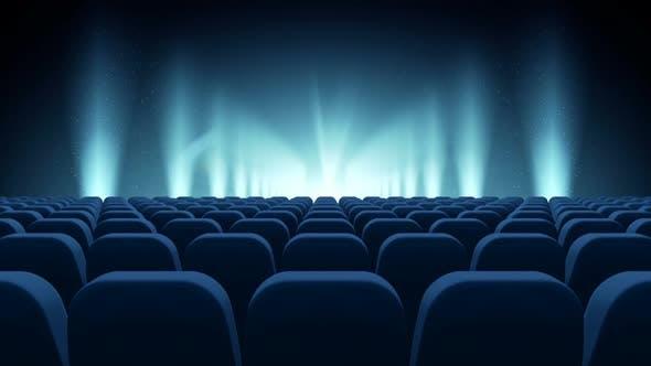 Sitzplätze vor der blauen Bühne Video