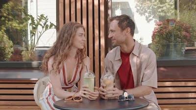 Couple Having Iced Drinks
