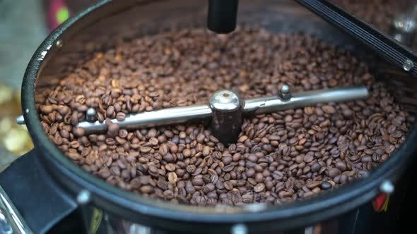 Thumbnail for Mixing and Roasting Brown Coffee Beans on Cooling Plate - Professional Coffee Roaster Machine During