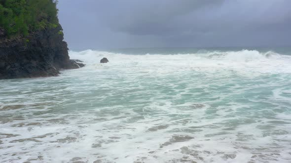 Thumbnail for Aerial Footage Over Peaceful Seascape of Pacific Ocean Surf at the Rocky Hawaiian Coastline