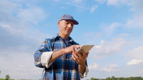 Thumbnail for Farmer Using Digital Tablet at Farm