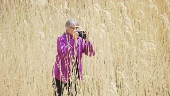 Thumbnail for Female photographer standing in tall grass capturing pictures with dslr camera
