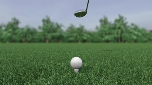 Golf Club Hits a Golf Ball in a Super Slow Motion