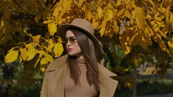 Cover Image for Portrait of a Confident European Girl in Brown Hat and Sunglasses Standing on the Background of