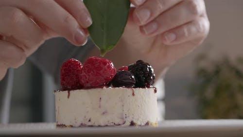 Presentation of Ice Cream Cake with Berries