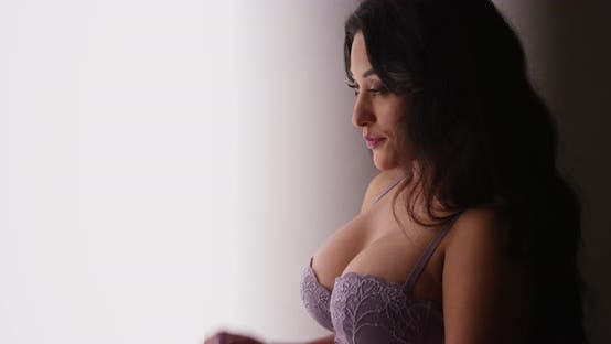 Thumbnail for Sexy Mexican woman standing by window in lingerie