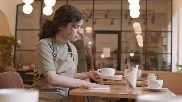 Thumbnail for Girl Setting Table in Restaurant
