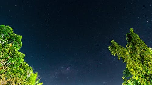 Amazing Starry Sky with Shooting Stars