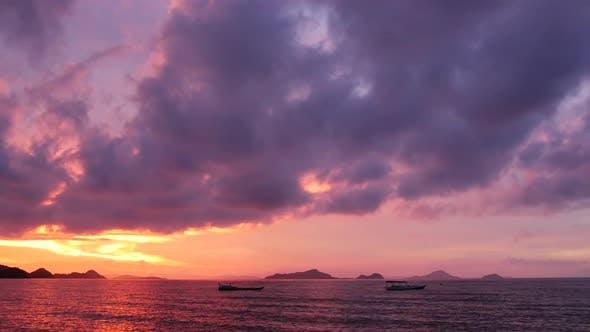 Labuan Bajo beach sunset time lapse